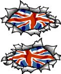 Small handed Oval Ripped Pair Metal Design With UK British Flag Vinyl Car Sticker 85x50mm Each